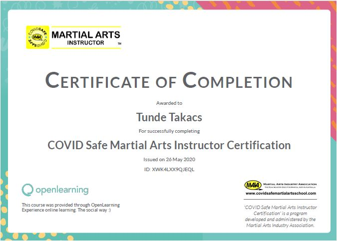MAIA COVID Safe Martial Art Instructor Certification